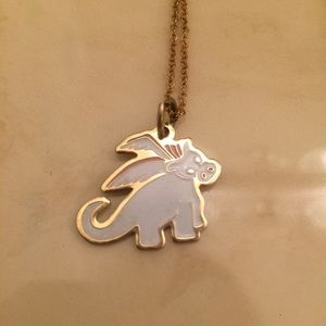 Jewelry - White & Gold Pegasus Necklace